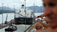 A ship goes thru the Miraflores locks of the Panama Canal in 2009. (ORLANDO SIERRA/AFP/Getty Images)