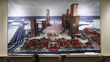 An artist's illustration of the new 'Resorts World Las Vegas' is displayed during a news conference in Las Vegas, Nev., March 4, 2013. The casino will be built by Genting Berhad, a Malaysia-based multinational company. (STEVE MARCUS/REUTERS)