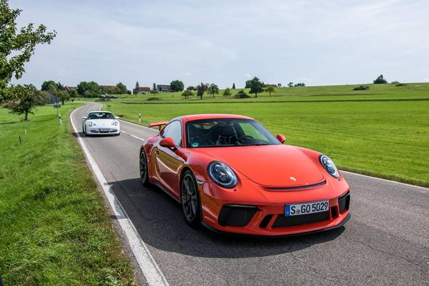 The 2018 Porsche 911 GT3 on the road in Germany's Black Forest.
