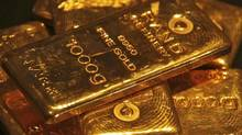 Gold bars are displayed at a gold jewellery shop in Chandigarh May 8, 2012.