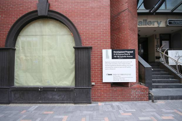 A development proposal notification on York Square in Toronto's Yorkville neighbourhood.