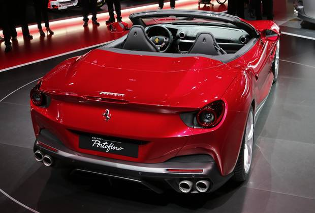 A Ferrari Portofino is on display on the first media day of the International Frankfurt Motor Show IAA in Frankfurt, Germany, Tuesday, Sept. 12, 2017, which runs through Sept. 24, 2017.