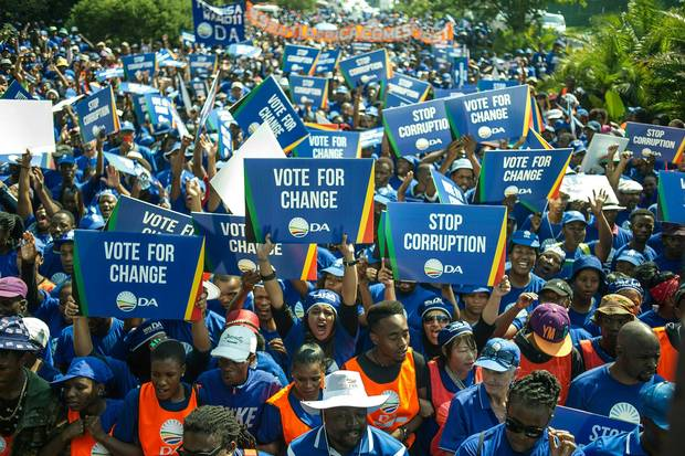 Thousands of Democratic Alliance supporters march to the Constitutional Court to protest against South African President Jacob Zuma on April 15, 2016, in Johannesburg.