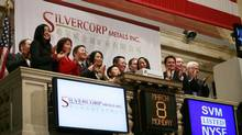 Employees and guests of Silvercorp Metals attend the opening bell at the New York Stock Exchange, Monday, March 8, 2010. Silvercorp Metals Inc. is a Canadian-based primary silver producer with mining operations and development projects located in China and Canada. (Mark Lennihan/Associated Press)