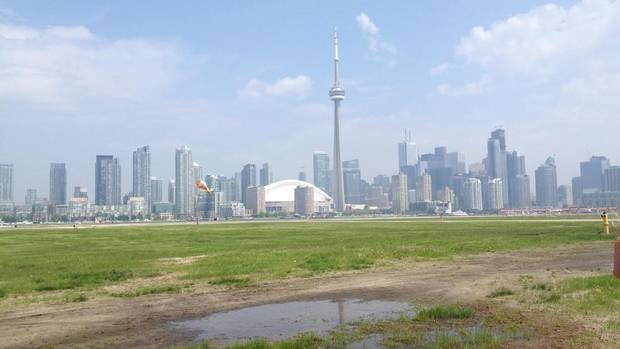 A view of the Toronto city skyline from the existing location of Terminal A, the original Toronto Island Airport terminal. (Ann Hui/The Globe and Mail)
