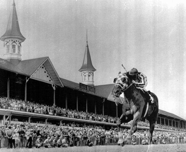 Secretariat, with Jockey Ron Turcotte up, crosses the finish line to win the Kentucky Derby in Louisville, May 5, 1973. Secretariat became the public's horse, and his popularity has stood the test of time.