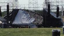 The collapsed Radiohead stage at Downsview Park in Toronto on Saturday June 16, 2012. (Alexandra Mihan/THE CANADIAN PRESS)