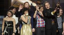Arcade Fire accepts an award onstage during The 53rd Annual GRAMMY Awards held at Staples Center on February 13, 2011 in Los Angeles, California. (Kevin Winter/Kevin Winter/Getty Images)
