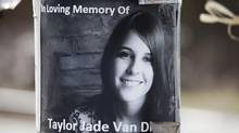 A poster depicting 18-year-old Taylor Van Diest is taped to a railway crossing in Armstrong, B.C., on April 5, 2012. (Jeff Bassett for The Globe and Mail)