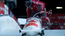 Lyndon Rush, front, and Lascelles Brown, of Canada, race to a second-place finish during the men's two-man bobsled World Cup event in Whistler, B.C., on Friday November 23, 2012. (DARRYL DYCK/THE CANADIAN PRESS)
