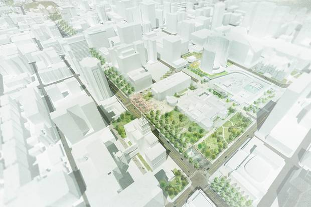 The most exciting proposal in the Great Streets project is for University Avenue, which would see the four car lanes and centre median reshuffled to make space for a linear park.