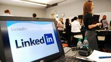 In this Wednesday, May 25, 2011 photo, a computer shows a LinkedIn graphic at a social media workshop at the University of Minnesota in Minneapolis, Minn. Career experts encourage new college grads to use online social networks like LinkedIn, Facebook and Twitter as a tools to find job connections. (Tim Post/The Associated Press)