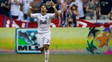 Vancouver Whitecaps' Camilo Sanvezzo, of Brazil, celebrates after scoring against Real Salt Lake during the second half of an MLS soccer game in Vancouver, B.C., on Saturday August 11, 2012. (DARRYL DYCK/THE CANADIAN PRESS)