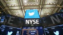 The Twitter Inc. logo is displayed on screens prior to its IPO on the floor of the New York Stock Exchange in New York, November 7, 2013. (LUCAS JACKSON/REUTERS)