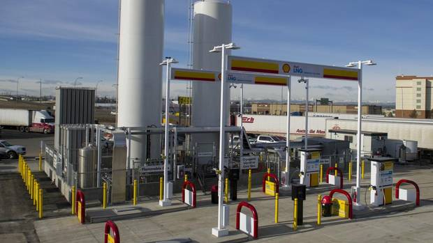 "The new Shell Flying J truck stop north of Calgary opened in March offering liquefied natural gas (LNG) as a motor-vehicle fuel. ""We're creating a new market, we recognize that takes time,"" says David Williams, a Shell Canada spokesman. (Shell Canada)"