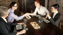 A lunch is a great way for employees to meet. (Jan Lombard/Getty Images/iStockphoto)