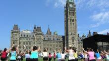 Try a yoga class on Parliament Hill's front lawn.