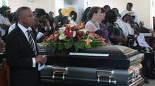 The coffin of Oscar Bartholomew is shown at his funeral service in Crochu, Grenada, Monday, Jan.9, 2012. THE CANADIAN PRESS/Colin Perkel (Colin Perkel/The Canadian Press/Colin Perkel/The Canadian Press)