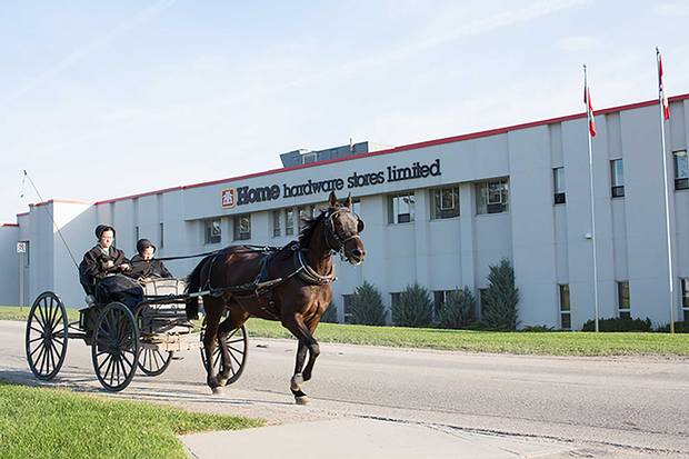 Vice President of distribution John Dyksterhuis (above). The flagship store in St. Jacobs, Ontario, has a shelter out back for horses and buggies, the transportation of choice for hundreds of area Mennonites.