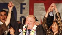 Mayor-elect Rob Ford celebrates victory in Toronto on Oct. 25, 2010. (Peter Power/Peter Power/The Globe and Mail)
