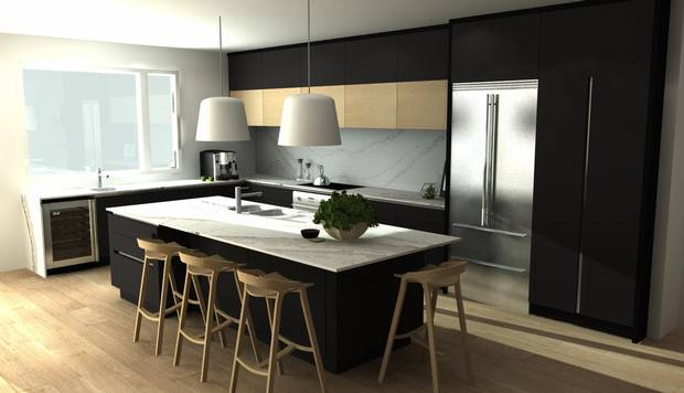 The mainfloor design of the home resembles an upside down 'L', with the kitchen, pictured here in a rendering, situated at the elbow.