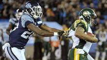 Toronto Argonauts linebacker Brandon Isaac slows up Edmonton Eskimos quarterback Kerry Joseph in the East Division semi-final Nov. 11 in Toronto. (Mike Cassese/REUTERS)