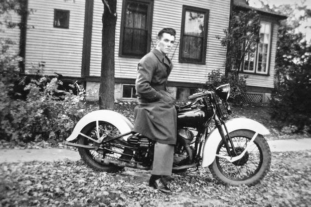 Flight Lieutenant Jack Maclean Mason, shown outside his family home in Chippawa, Ont., after the war. When his children were growing up, he told them he had served as a navigator. He told his son Gary the truth when he asked about his wartime experiences for a journalism assignment in 1981: 'In truth, I was the one who dropped the bombs.'