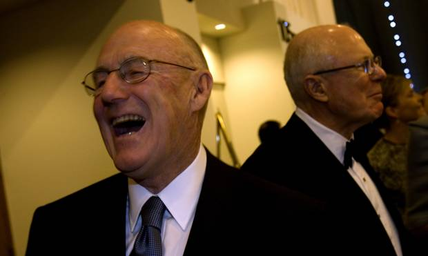 Arthur Irving in 2008. Behind him is his brother Jack Irving.