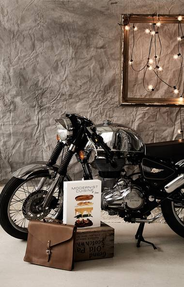Royal Enfield has been in business for over a hundred years, so it knows a thing or two about motorcycles. That's why the Chrome Café Racer is not just the embodiment of retro-cool, it's also practical, getting an amazing 85 miles per gallon. $8,995; motoretta.ca • The 465-page Modernist Cuisine at Home embraces scientific rigour to help home cooks navigate such arcana as the perfect temperature for a sous-vide water bath. $125; goodegg.ca • Made by Swedish brand Sandqvist, the vegetable-tanned leather Lennart bag features one main compartment and one zippered pocket. $395; uncleotis.com