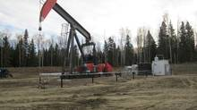 A pump jack in the Cardium oil play of Alberta