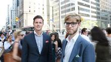 Michael Liebrock, left, and Andrew Dale both struggle with Bay Street's macho culture. 'It's not necessarily homophobia explicitly, but it's this prototype of what a dealmaker looks like,' Dale says. (Kevin Van Paassen For The Globe and Mail)