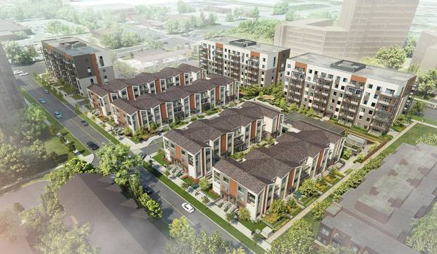 Daniels FirstHome Markham Sheppard will comprise of three six-storey buildings containing 228 suites and 100 one- and two-storey stacked townhomes.