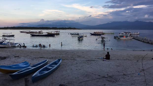 Dusk in Indonesia's Gili Islands.