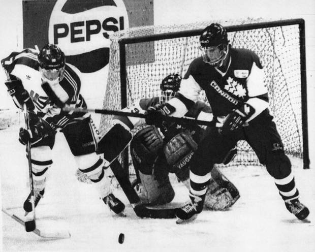 Canadian and American players battle during the 1987 world junior hockey championships in the former Czechoslovakia. A fight broke out at that game, too.
