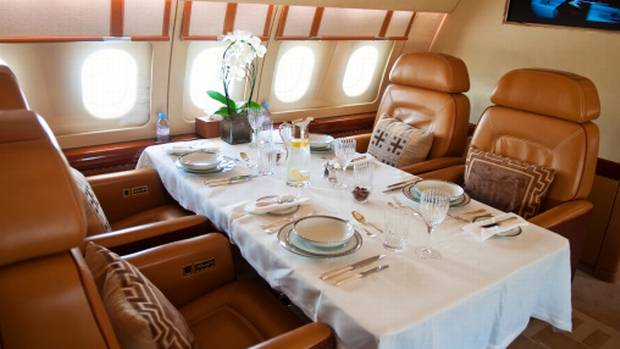 According to executive pay research company Equilar, the median value of perks received by chief executives of large, listed U.S. companies in 2012 was about $160,000 (U.S.) – and that's on top of their median pay of $9.7-million. Private jets like this one are, of course, a staple. (Yulia Kuznetsova/Getty Images/iStockphoto)