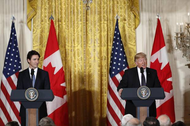 President Donald Trump and Canadian Prime Minister Justin Trudeau participate in a joint news conference in the East Room of the White House on Feb. 13, 2017.