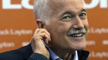 NDP Leader Jack Layton listens to a question during a campaign stop in Winnipeg on April 27, 2011. (Andrew Vaughan/THE CANADIAN PRESS)