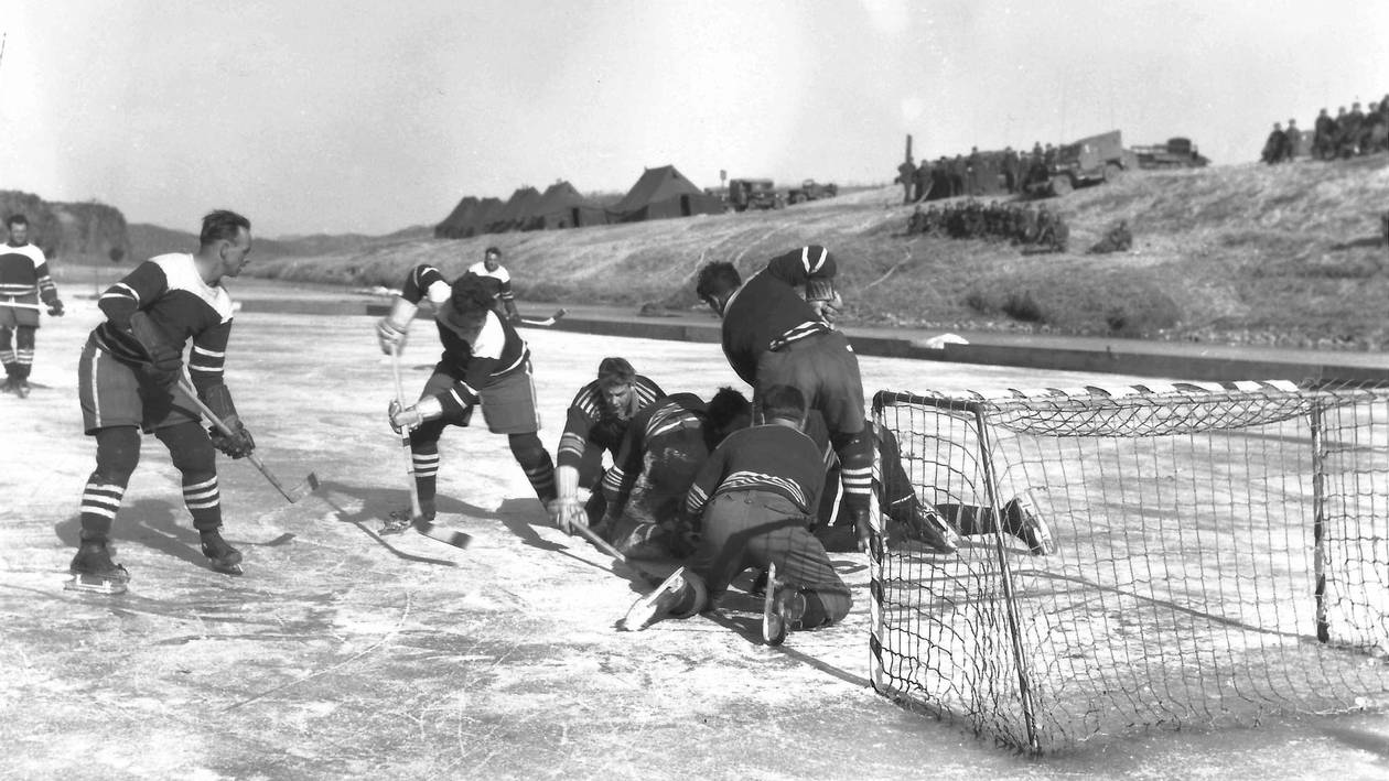 Hockey championship match on the Imjin River on the UN side of the 38th Parallel, Korea, in 1952.