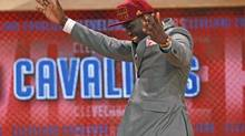 Anthony Bennett of Brampton, Ont., reacts after being selected first overall by the Cleveland Cavaliers in New York on Thursday. (MIKE SEGAR/REUTERS)