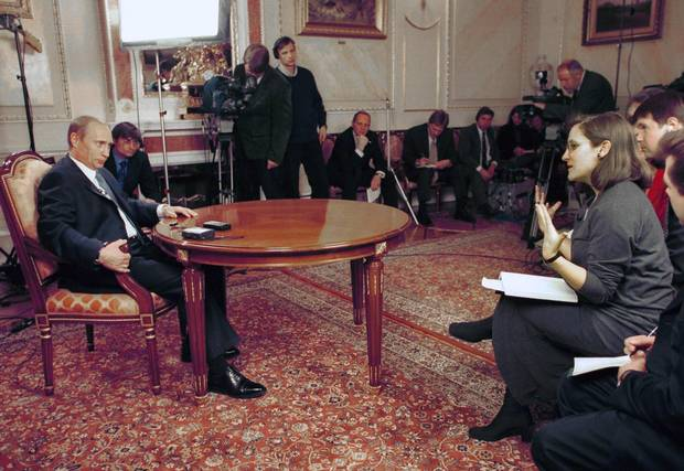 December 2000: Chrystia Freeland (L) The Globe and Mail deputy editor and Geoffrey York (next left) Moscow correspondent during an interview with Russian President Vladimir Putin in his working Kremlin residence