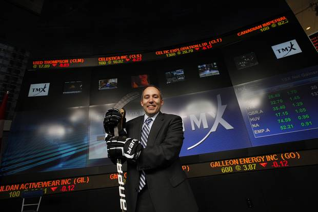 Kevin Davis, former CEO of Performance Sports Group, is shown in 2011 as his company, then known as Bauer Performance Sports, went public in Toronto.