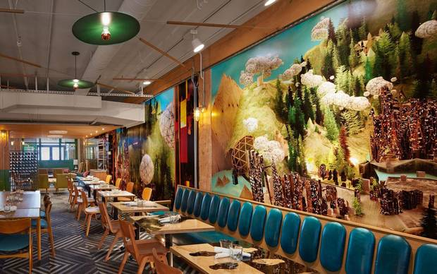 A large mural adorns a wall of the Drake Commissary.