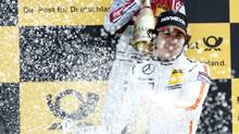 Robert Wickens finished third in the season's second DTM race at the U.K. circuit of Brands Hatch. It was the first podium finish for the Canadian racer. (Mercedes-Benz)