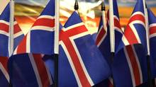 Iceland's flags are seen in a souvenir shop (INTS KALNINS)