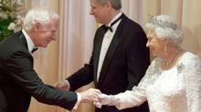 David Johnston, then president of the University of Waterloo, meets the Queen at a Toronto dinner reception with Prime Minsiter Stephen Harper on July 5, 2010. (Jason Ransom/PMO)