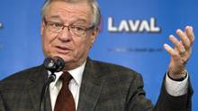 Laval Mayor Gilles Vaillancourt speaks to reporters in 2010 in Laval, Quebec. (Ryan Remiorz/THE CANADIAN PRESS)