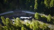 A tanker carrying 35,000 litres of jet fuel is shown after it crashed into Lemon Creek, about 60 kilometres north of Castlegar, B.C., on Friday, July 26 2013. (Benjamin Jordan/THE CANADIAN PRESS)