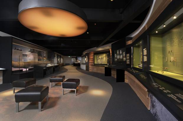A view from the gallery of the redesigned Canadian History Hall, which displays a more conventional and didactic approach to history than its predecessor.