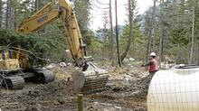 BC SPCA investigators continue to excavate and carry out site mapping prior to the exhumation of what is believed to be the mass grave site of 100 sled dogs near Whistler. (SPCA photo/SPCA photo)