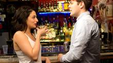 Still of Jenny Slate and Jake Lacy in Obvious Child (2014). (A24)